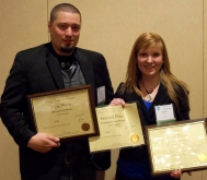 Ben Weise and Jamie Soule with First- and Second-Place awards at MN Better Newspaper Contest