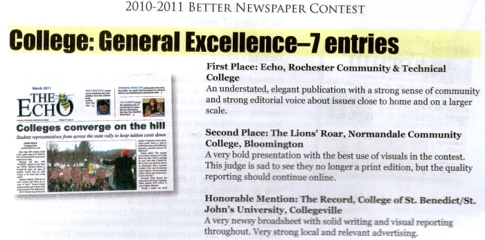 First Place General Excellence at the 2010-1011 MNA Better Newspaper Contest