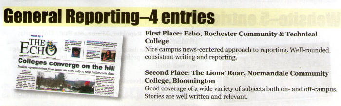 First Place General Reporting at the 2010-1011 MNA Better Newspaper Contest